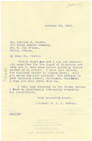 Letter from W. E. B. Du Bois to Charles H. Studin, October 20, 1923