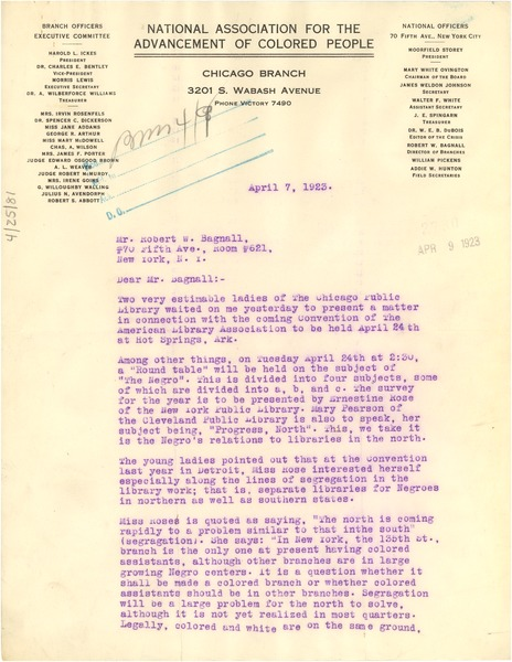 Letter from Morris Lewis to Robert W. Bagnall, April 7, 1923