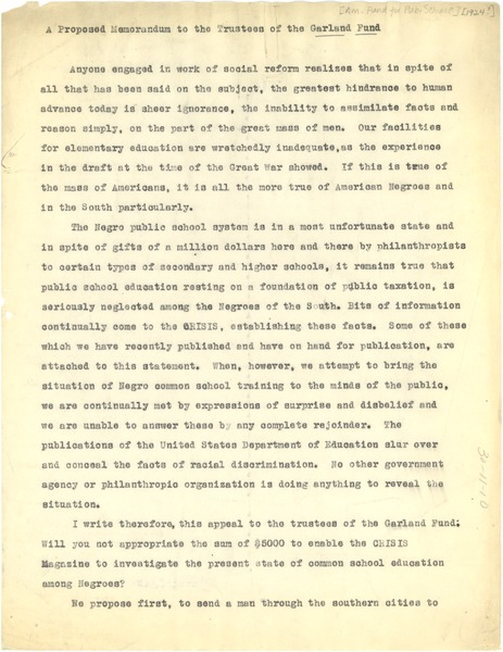 Memorandum from W. E. B. Du Bois to American Fund for Public Service, 1924?