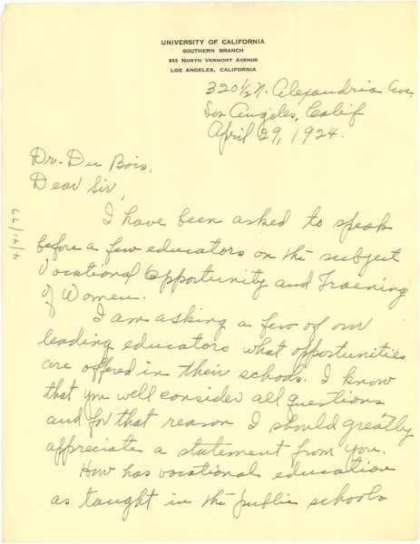 Letter from Josephine Collier to W. E. B. Du Bois, April 29, 1924