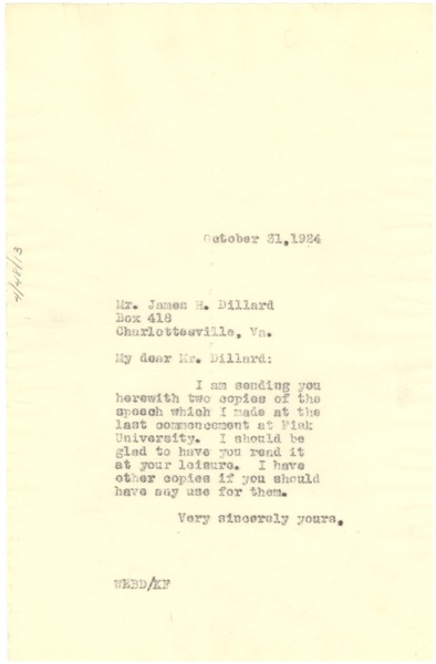 Letter from W. E. B. Du Bois to James H. Dillard, October 31, 1924