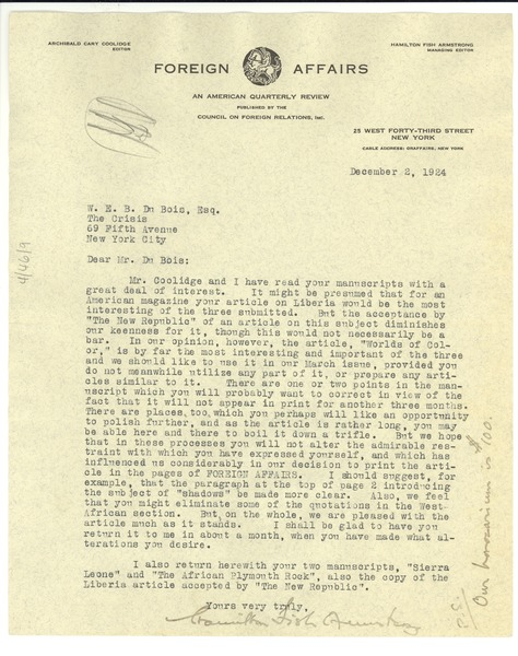 Letter from Foreign Affairs to W. E. B. Du Bois, December 2, 1924