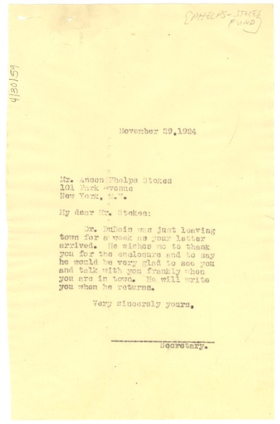 Letter from unidentified correspondent to Anson Phelps Stokes, November 29, 1924