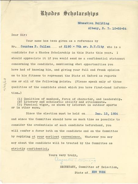 Letter From Rhodes Scholarship To W E B Du Bois October 28 1924