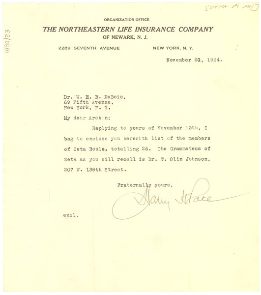 Letter from Harry H. Pace to W. E. B. Du Bois, November 20, 1924