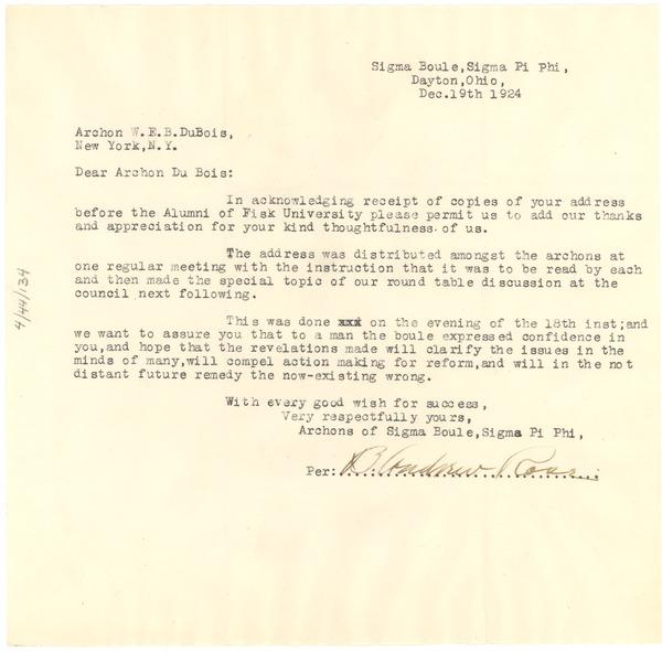 letter from b. andrew rose to w. e. b. du bois, december 19, 1924
