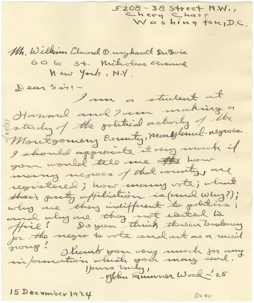 Letter from John Sumner Wood to W  E  B  Du Bois, December