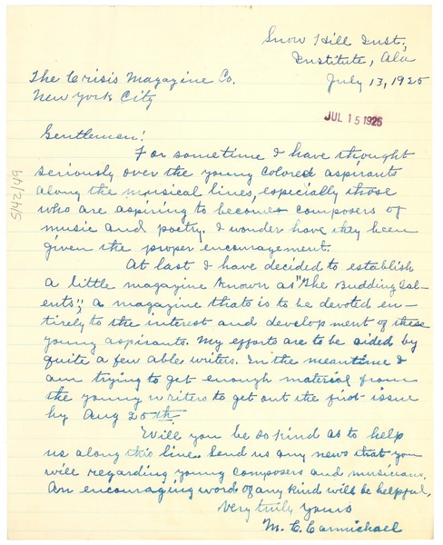 Letter from m c carmichael to w e b du bois july 13 1925 expocarfo Gallery