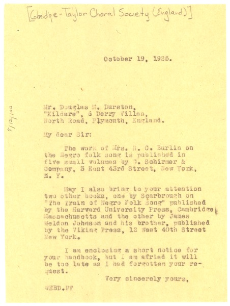 Letter from W. E. B. Du Bois to The Samuel Coleridge-Taylor Choral Society, October 19, 1925