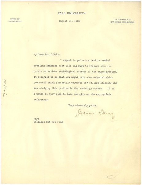 Letter from Jerome Davis to W. E. B. Du Bois, August 21, 1925