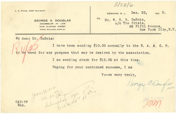Letter from George A. Douglas to W. E. B. Du Bois, December 23, 1925