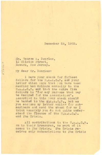 Letter from W. E. B. Du Bois to George A. Douglas, December 29, 1925