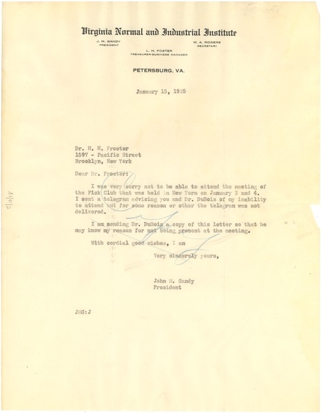 Copy of letter from John M. Gandy to H. H. Proctor, January 15, 1925