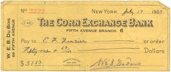 Check from W. E. B. Du Bois to E. Franklin Frazier, July 17, 1925