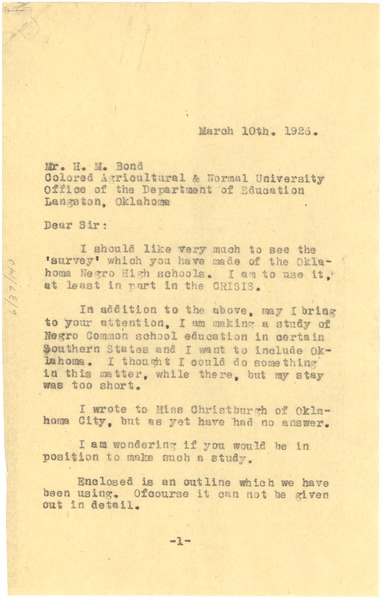 Letter from W. E. B. Du Bois to H. M. Bond, March 10, 1926