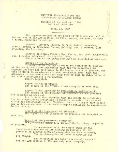 NAACP minutes of the meeting of the board of directors, April 12, 1926