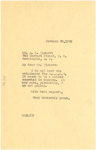 Letter from W. E. B. Du Bois to A. S. Pinkett, January 20, 1926