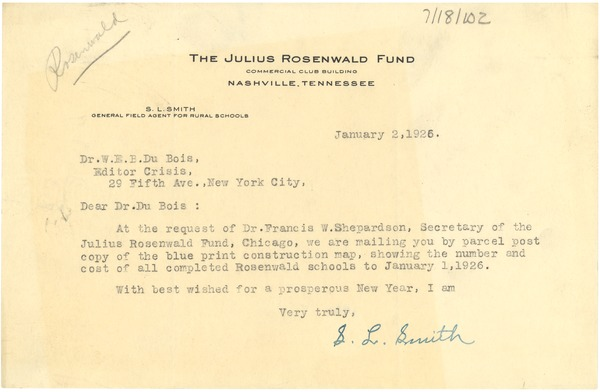 Letter from The Julius Rosenwald Fund to W. E. B. Du Bois, January 2, 1926