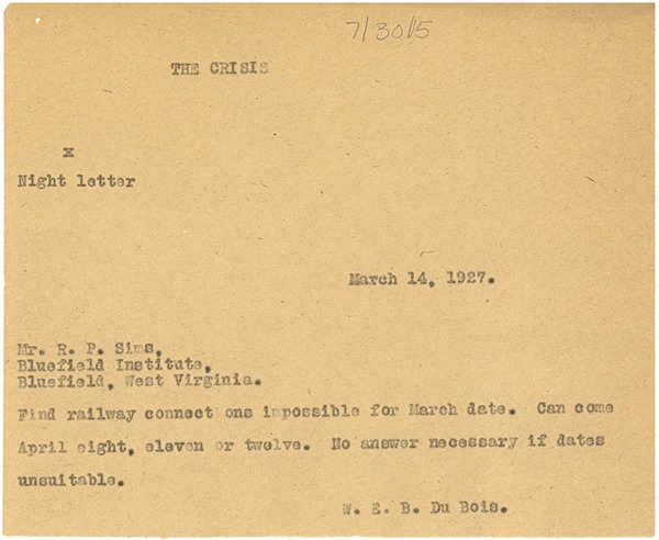 Letter from W. E. B. Du Bois to R. P. Sims, ca. March 14, 1927