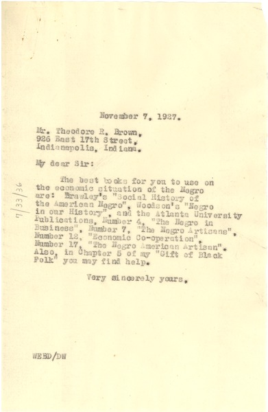Letter from W. E. B. Du Bois to Theodore R. Brown, November 7, 1927