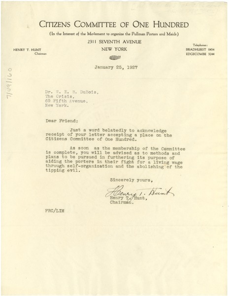 Circular letter from Citizens Committee of One Hundred, January 12, 1927