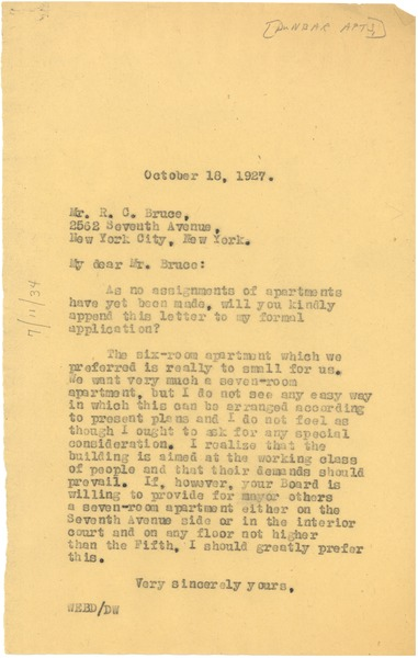 Letter from W. E. B. Du Bois to Paul Lawrence Dunbar Apartments, October 18, 1927