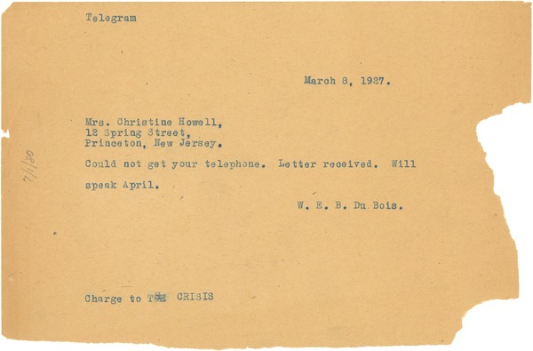 Telegram from W. E. B. Du Bois to NAACP Princeton Branch, March 8, 1927