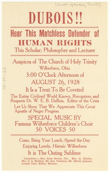 W. E. B. Du Bois lecture at the Church of Holy Trinity handbill, ca. August 1928