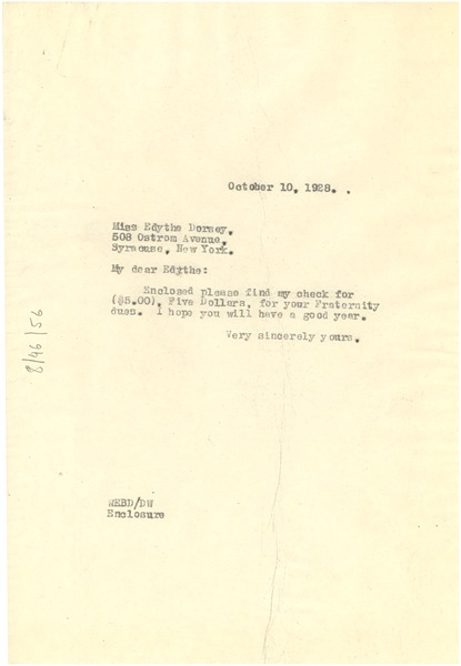 Letter from W. E. B. Du Bois to Edith Dorsey, October 10, 1927