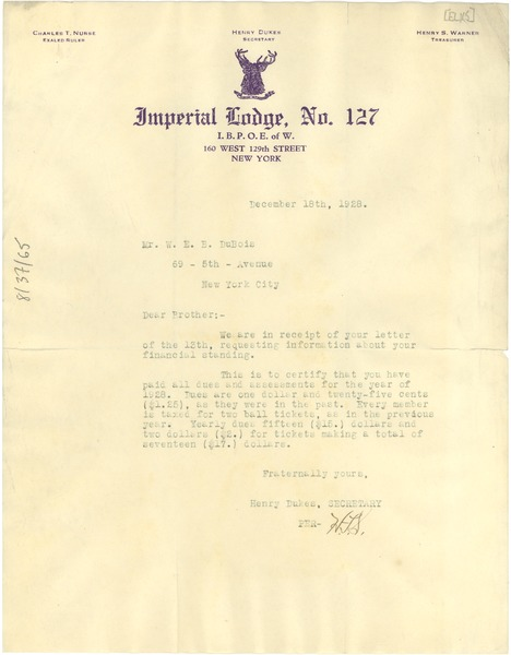 Letter from Elks, Imperial Lodge to W. E. B. Du Bois, December 18, 1928