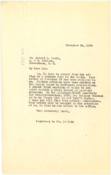 Letter from unidentified correspondent to Robert L. Faulk, November 24, 1928