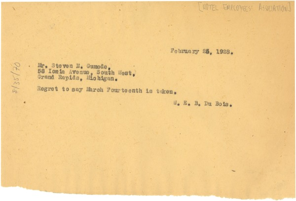 Letter from W. E. B. Du Bois to Hotel Employees Association, February 25, 1928