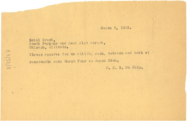 Letter from W. E. B. Du Bois to Hotel Grand, March 3, 1928