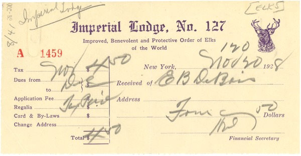 Receipt from Elks, Imperial Lodge, November 20, 1928