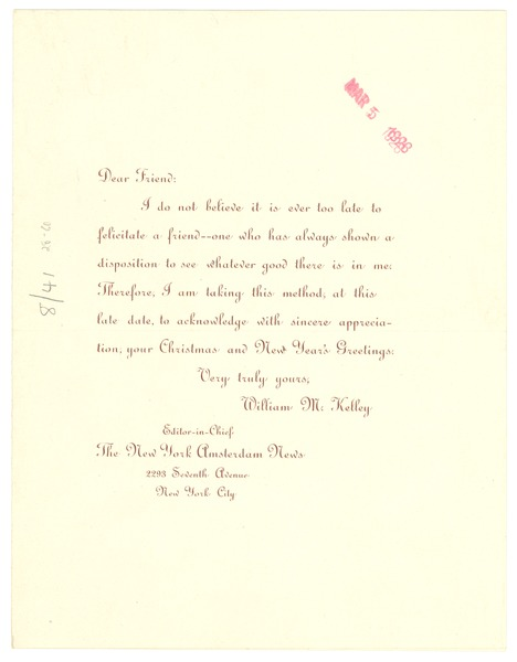 Greeting card from William M. Kelley, ca. March 5, 1928