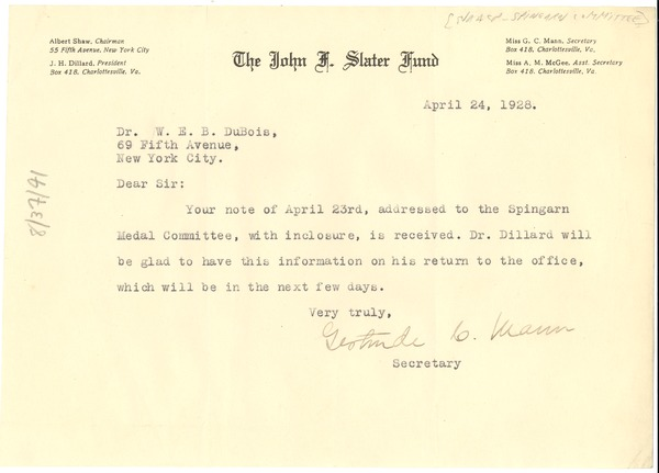 Letter from Gertrude C. Mann to W. E. B. Du Bois, April 24, 1928