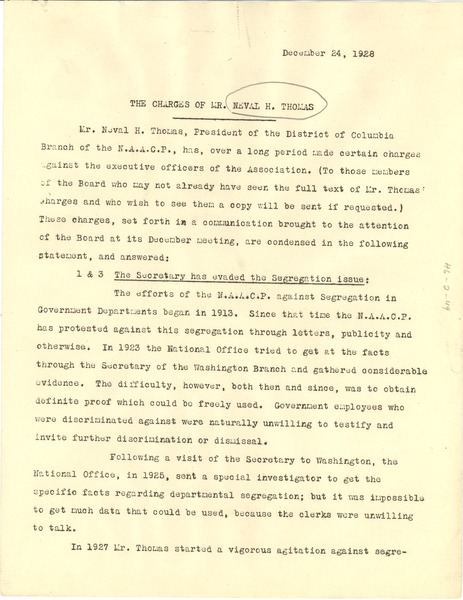 The charges of Mr. Neval H. Thomas, December 24, 1928