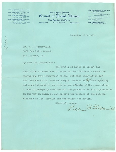 Letter from Lillian B. Goldsmith to the NAACP Los Angeles branch, December 29, 1927