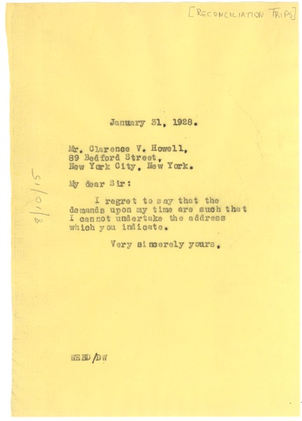 Letter from W  E  B  Du Bois to Reconciliation Trips, January 31, 1928