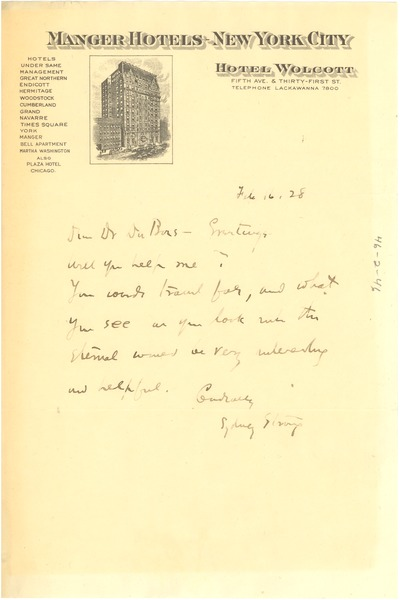 Letter from Sydney Strong to W. E. B. Du Bois, February 16, 1928
