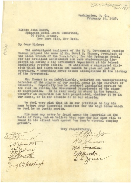Letter from U. S. Government Pension Bureau to Spingarn Medal Award Committee, February 16, 1928