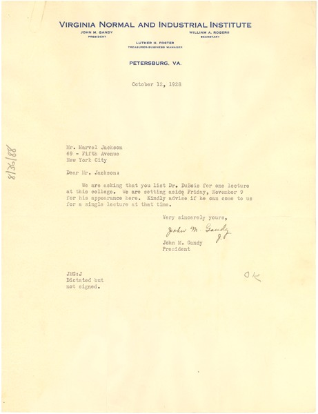 Letter from Virginia Normal and Industrial Institute to Marvel K. Jackson, October 12, 1928