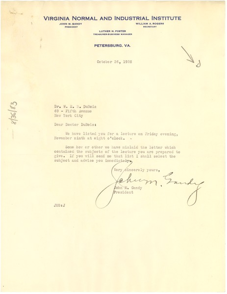 Letter from Virginia Normal and Industrial Institute to W. E. B. Du Bois, October 26, 1928