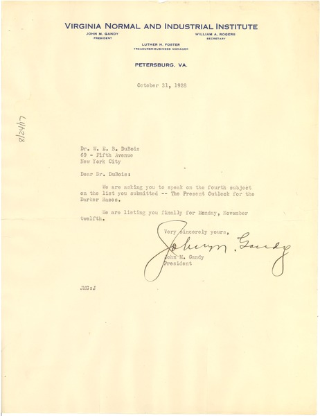 Letter from Virginia Normal and Industrial Institute to W. E. B. Du Bois, October 31, 1928