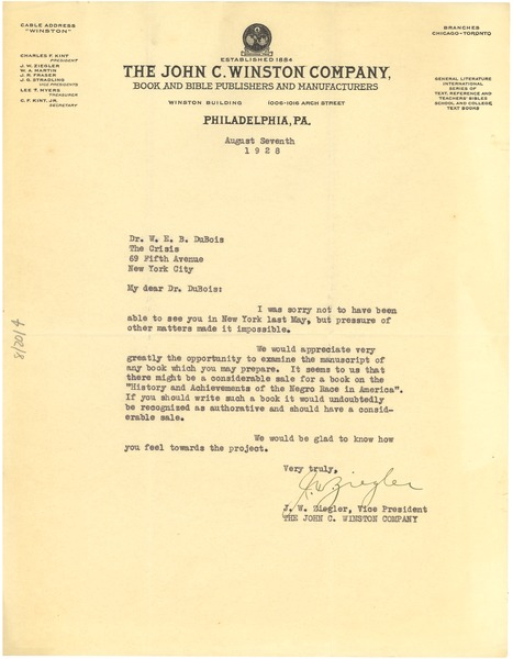 Letter from John C. Winston Company to W. E. B. Du Bois, August 7, 1928