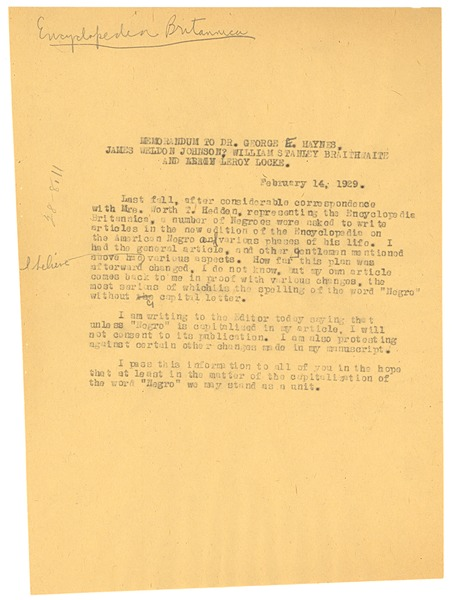 Memorandum from W. E. B. Du Bois to William Stanley Braithwaite, George E. Haynes, James Weldon Johnson,              and Alain LeRoy Locke, February 14, 1929