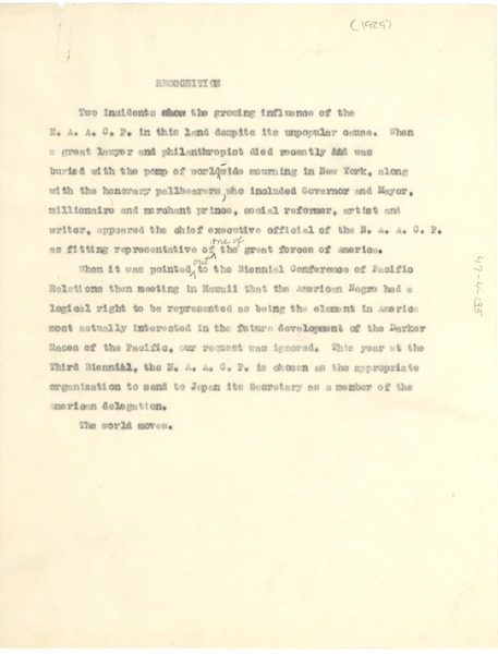 Statement from the NAACP on recognition, ca. 1929