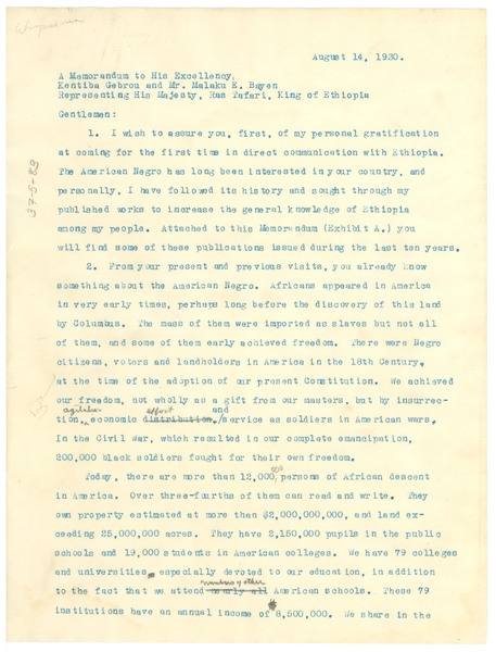 A Memorandum to His Excellency Kentiba Gebrou and Mr. Malaku E. Bayen             Representing His Majesty, Ras Tafari, King of Ethiopia, August 14, 1930