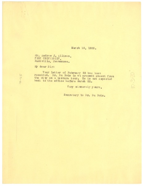 Letter from undisclosed correspondent to Fisk University, March 10, 1930