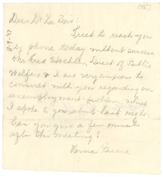 Note from Verna Green to W. E. B. Du Bois, ca. 1930